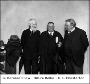 George Bernard Shaw, Hilaire Belloc and G.K Chesterton during a London debate.